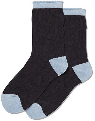 Hot Sox Floral-Textured Crew Socks