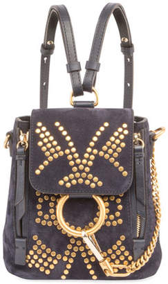 Chloé Faye Mini Studded Leather/Suede Backpack