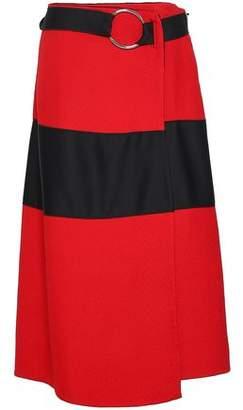 Amanda Wakeley Belted Paneled Cloque And Satin Midi Skirt