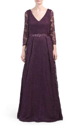 Long Sleeve Belted V-neck Lace Gown