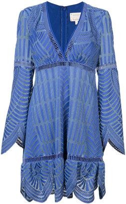 Nicole Miller scalloped v-neck dress $440 thestylecure.com