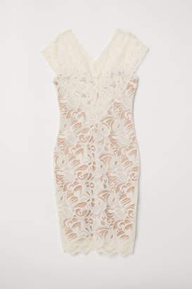 H&M Lace V-neck Dress - White