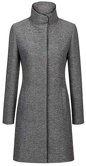 Patterned coat with faux-leather trims and stand collar
