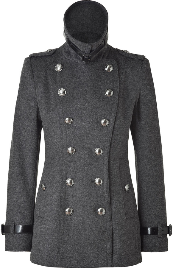 Burberry Grey Double-Breasted Short Coat
