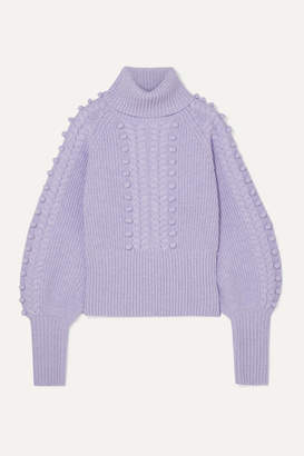 Temperley London Chrissie Cable-knit Merino Wool Turtleneck Sweater - Lilac