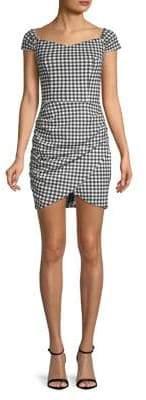 Design Lab Checkered Off-the-Shoulder Bodycon Dress