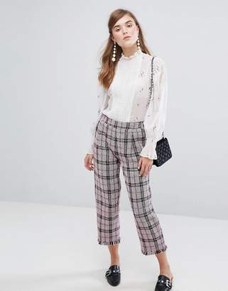 Sister Jane Cropped Pants In Tweed Check