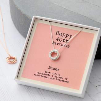 81d1eb8ac attic Sterling Silver Happy 40th Birthday Necklace