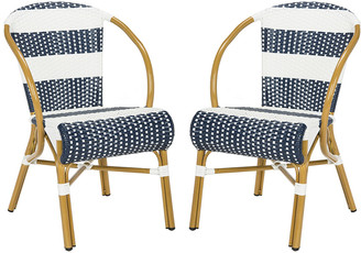 Safavieh Set Of 2 Sarita Striped French Bistro Stacking Side Chairs