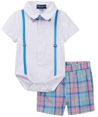 Andy & Evan White Easter Plaid Polo Bodysuit Set (Baby Boys)