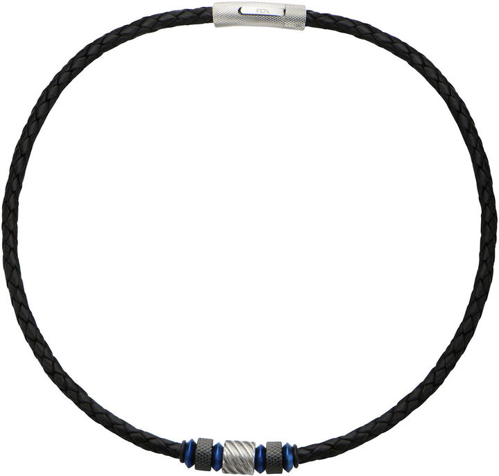 Celtic SheepskinFINE JEWELRY Inox Jewelry Mens Celtic Knot Stainless Steel & Black Leather Braided Necklace