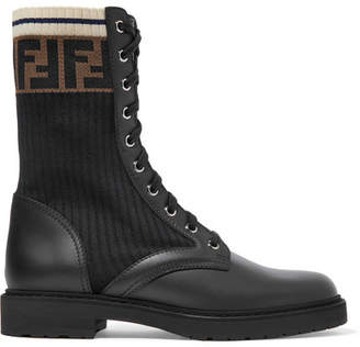 Fendi Logo-jacquard Stretch-knit And Leather Ankle Boots - Black