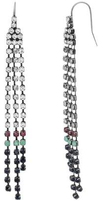 Steve Madden Multi-Colored Crystal Dangle Chain Earrings