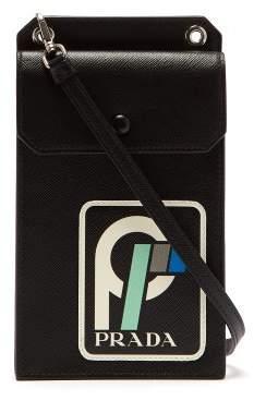 Prada - Logo Patch Saffiano Leather Cross Body Bag - Womens - Black Green