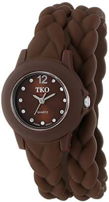TKO ORLOGI Women's 'Braided Double Wrap' Quartz Rubber and Silicone Casual Watch