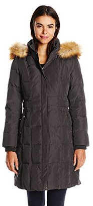 Jones New York Women's Down Coat with Faux Fur Hood $73.69 thestylecure.com