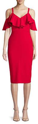 Rachel Roy Ruffle Cold Shoulder Midi Dress