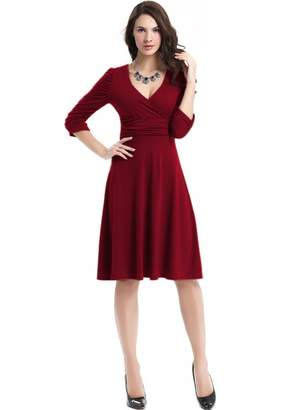 YINUOWEI Fit & Flare Women V-Neck 3/4 Sleeve Ruched Waist Casual Party Dress (M, )