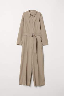 H&M Jumpsuit with Tie Belt - Brown