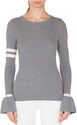 Akris Punto Crewneck Striped Long-Sleeve Wool Knit Pullover Sweater
