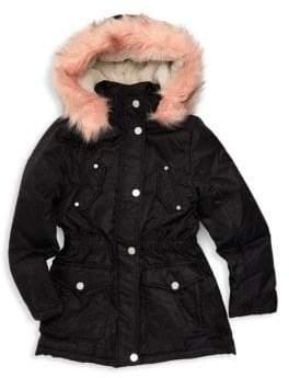 Urban Republic Little Girl's & Girl's Faux Fur Trimmed Hooded Jacket