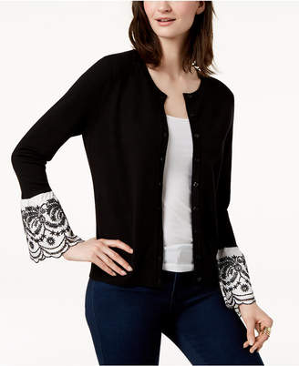 Charter Club Embroidered Bell-Sleeve Cardigan, Created for Macy's