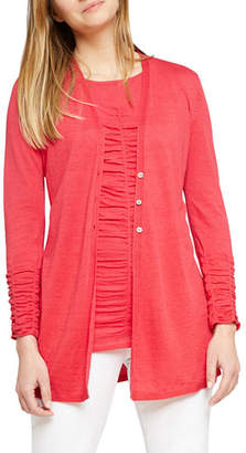 Nic+Zoe Button-Front Ruched Long-Sleeve Cardigan