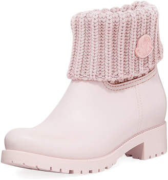 Moncler Ginette Rubber Boots with Knit Top