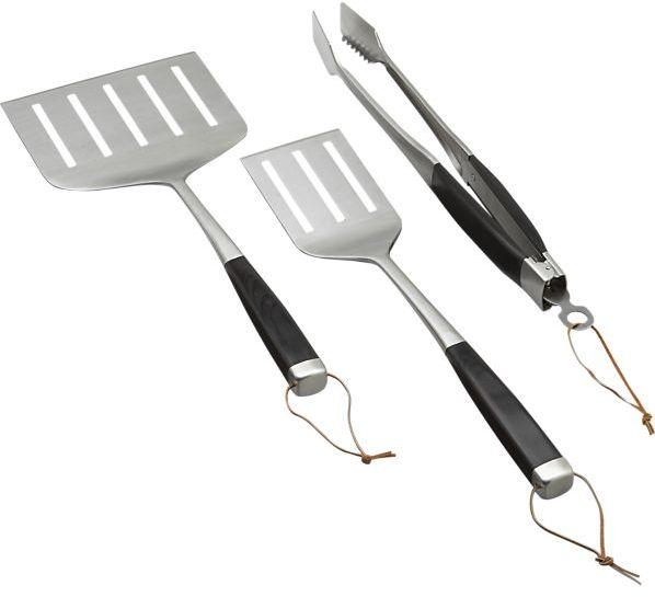 Crate & Barrel 3-Piece Wood Handled Grill Tool Set: one each of oversized turner, turner and locking tongs.