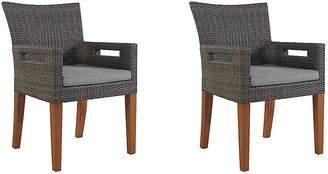 One Kings Lane Gray Wicker Armchairs - Set of 2