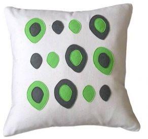 Balanced Design Flannel/Felt Eggs Pillow (Lime)
