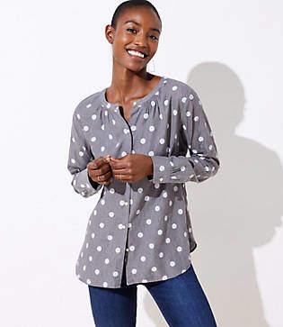 LOFT Polka Dot Collarless Button Down Shirt