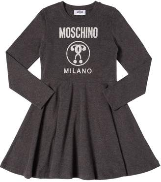 Moschino Logo Printed Cotton Interlock Dress