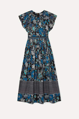Ulla Johnson Lottie Pleated Floral-print Cotton-blend Voile Midi Dress - Blue