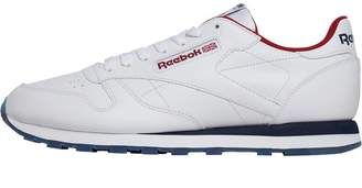 Reebok Classics Mens Leather Trainers White Collegiate Navy Rich Magma 3ad16ef57