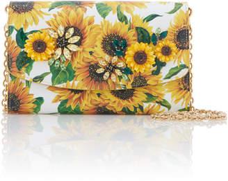 Dolce & Gabbana Embellished Floral-Print Textured-Leather Shoulder Bag