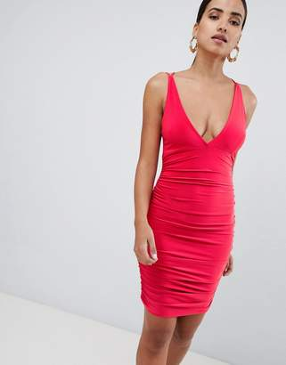 Rare London ruched side cross back mini dress