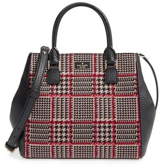 Kate Spade New York Prospect Place Maddie Houndstooth Satchel - Brown $328 thestylecure.com