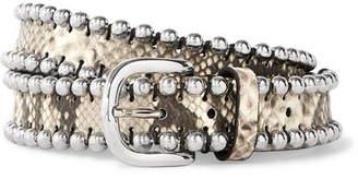 Isabel Marant Tokky Embellished Snake-effect Leather Belt - Snake print