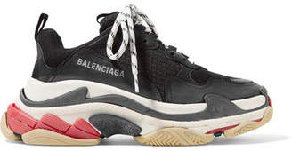 Balenciaga Triple S Logo-embroidered Leather, Nubuck And Mesh Sneakers - Black