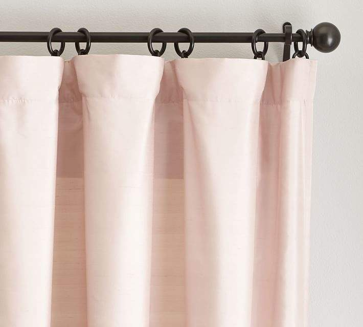 Dupioni Silk Pole-Pocket Drape – Soft Rose