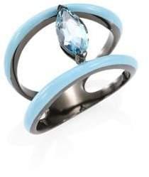 Etho Maria 18K Yellow Gold& Marquise Blue Topaz Ring