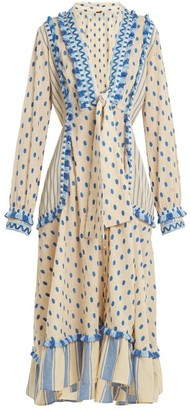 Dodo Bar Or - Padma Polka Dot Cotton Midi Dress - Womens - Blue
