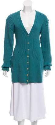 Balenciaga Rib-Knit Button-Up Cardigan