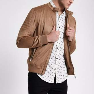 River Island Mens Tan faux suede racer neck jacket