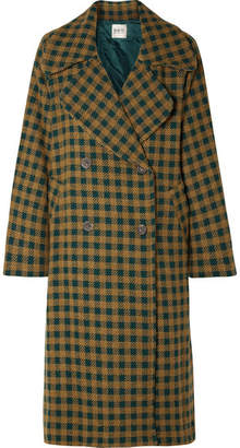 Sea Ethno Pop Oversized Checked Wool-blend Coat - Green