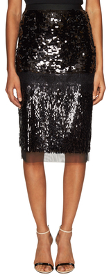 Cristal Sequined Lace Pencil Skirt