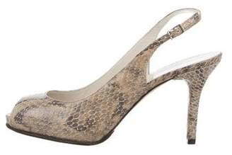 Stuart Weitzman Embossed Peep-Toe Sandals