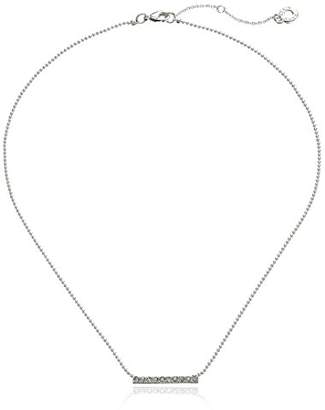 Anne Klein Fine Lines Silver Tone Crystal Frontal Necklace of 41cm