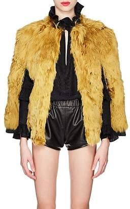 Saint Laurent Women's Leather-Trimmed Alpaca-Fur Cape - Yellow